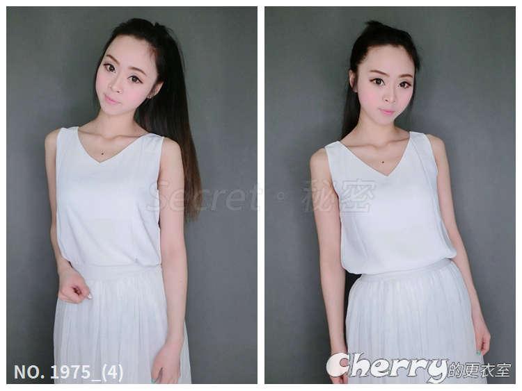 韓版V領吊帶雙層雪紡無袖短款背心