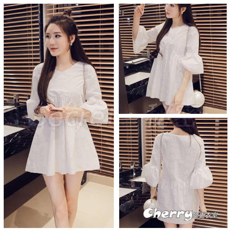韓版V領甜美喇叭袖娃娃短裙五分袖連身裙
