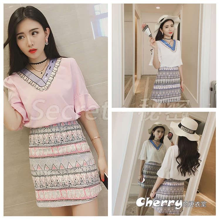 韓版V領短袖五分袖雪紡衫包臀裙印花短裙兩件套裝