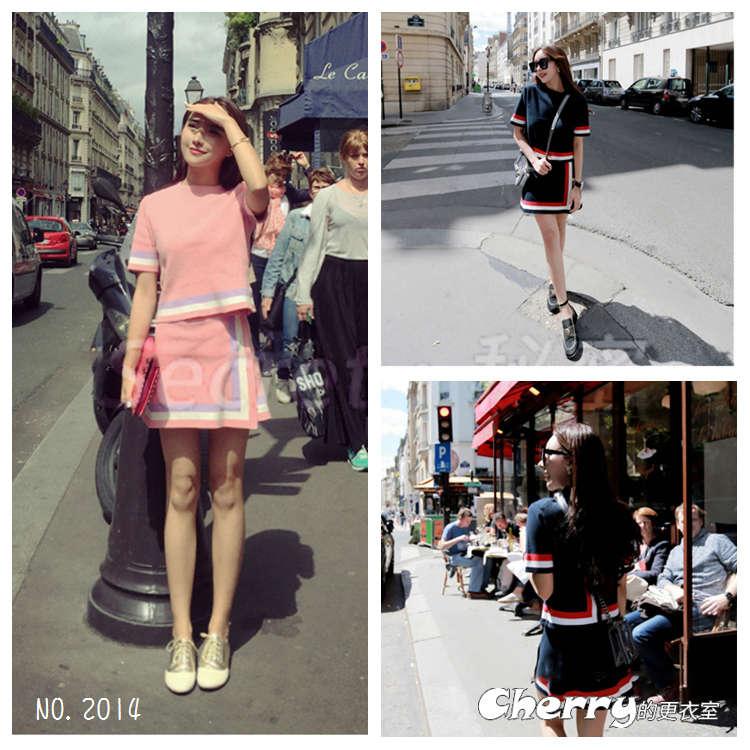 韓版小香風短袖條紋上衣+針織不規則短裙套裝