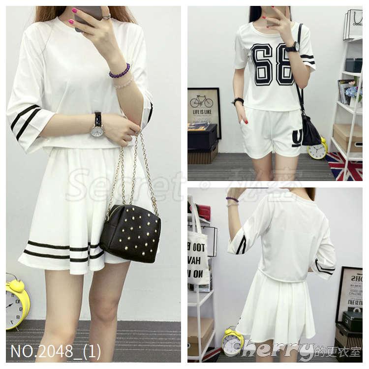 韓版條紋短裙兩件套裝印花字母短褲套裝