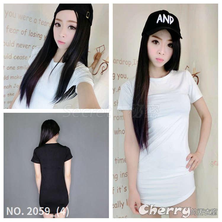 韓版修身長版T恤短裙包臀裙連身裙