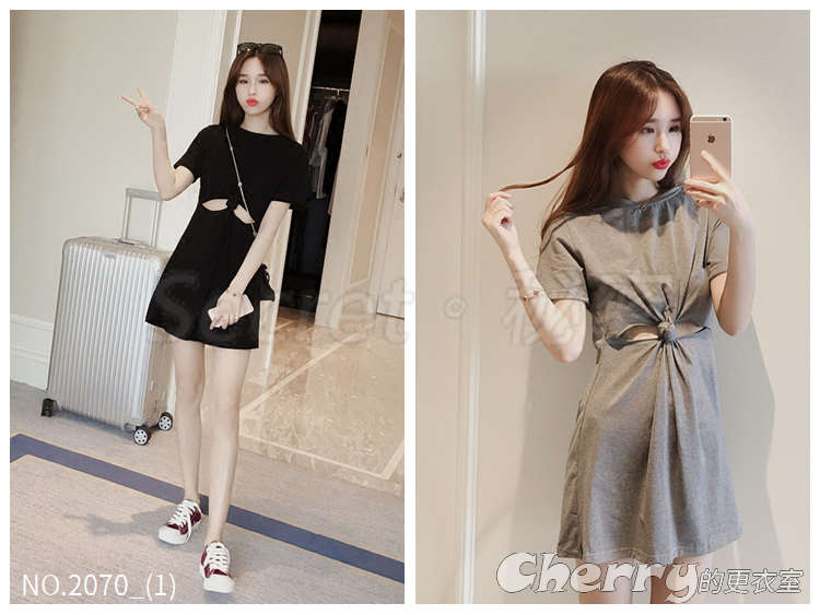 韓版圓領短袖高腰露臍T恤A字裙短裙連身裙