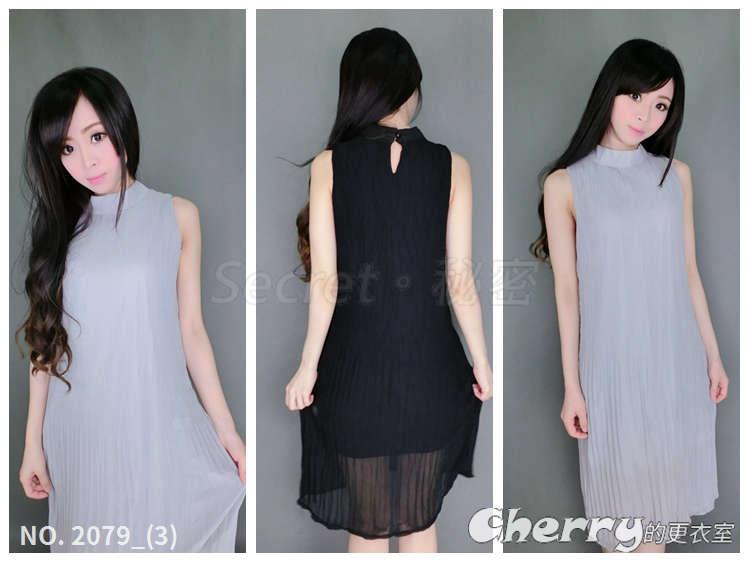 韓版雪紡無袖皺褶長裙A字裙長款連身裙