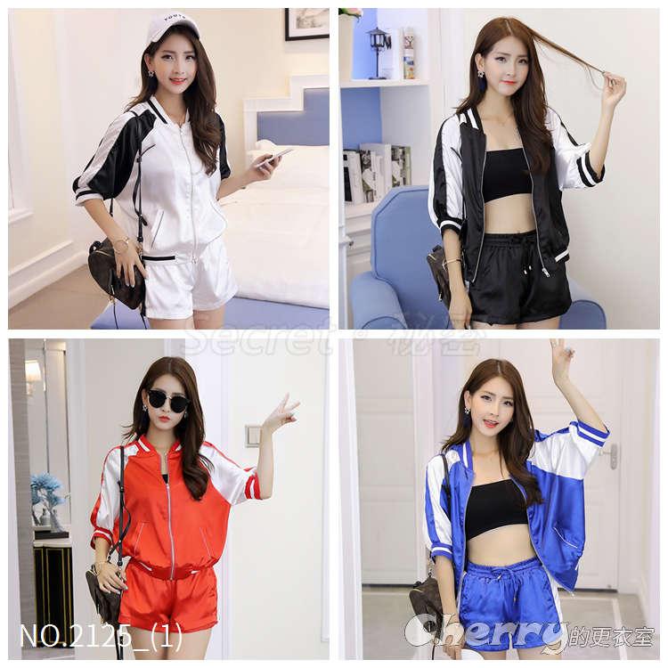 韓版學院風棒球外套含裹胸+休閒短褲三件套運動套裝