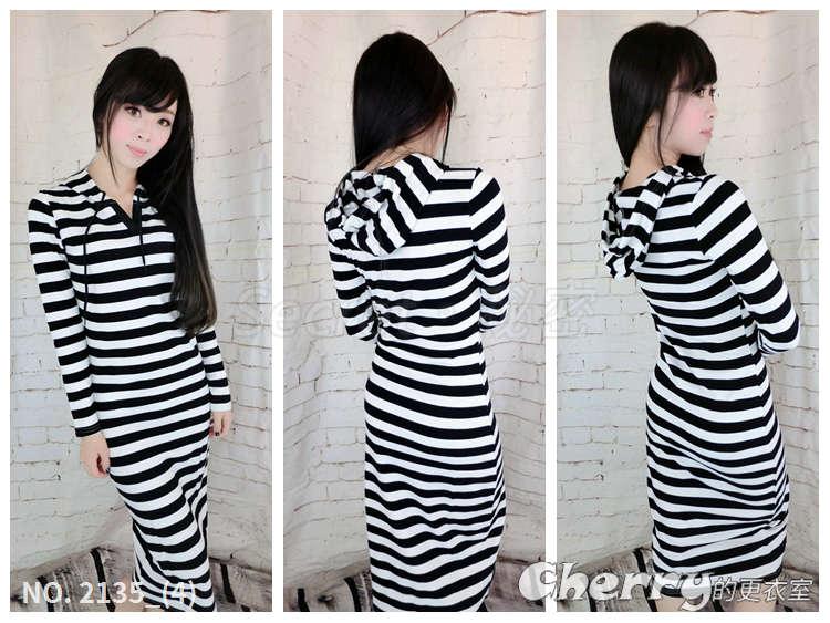 顯瘦黑白條紋修身連帽長版連身裙
