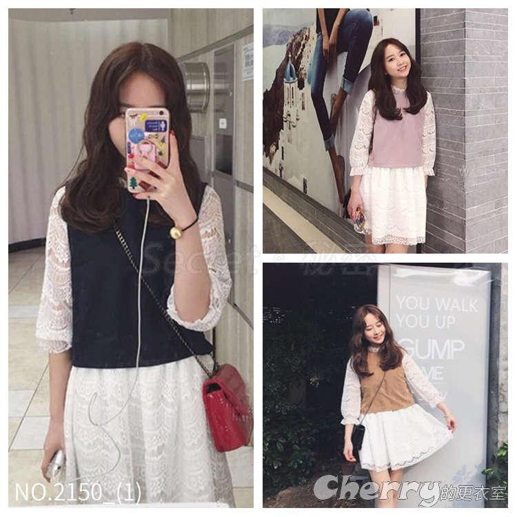 韓版寬鬆蕾絲長袖假兩件裙連身裙