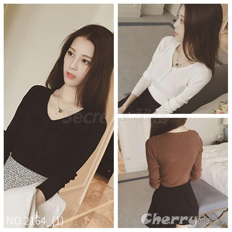 韓版v領長袖套頭打底衫短款毛衣針織衫