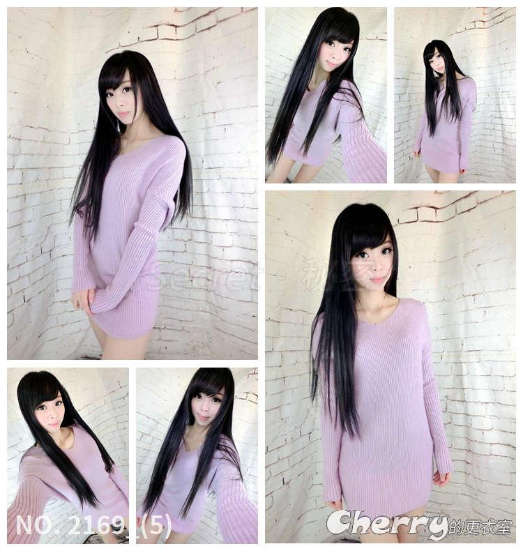 長款V領針織毛衣裙套頭打底裙中長款連身裙