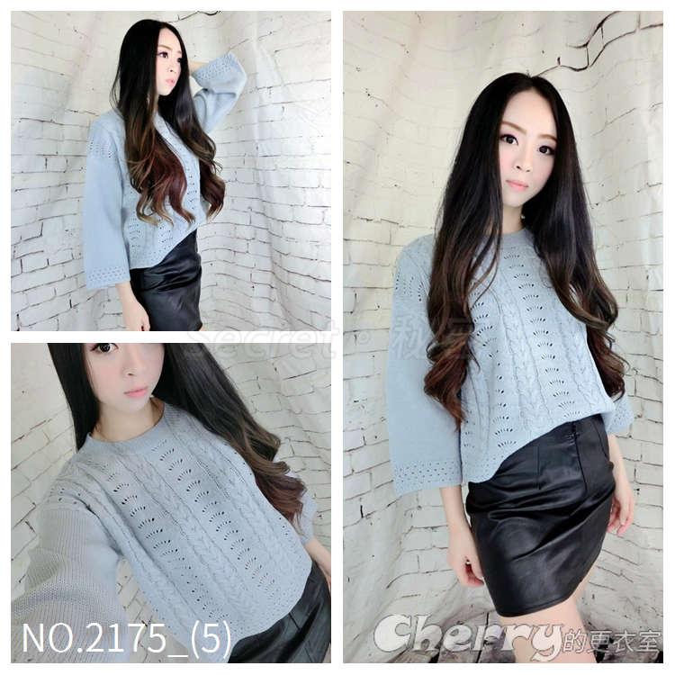 韓版短款鏤空長袖針織衫寬鬆毛衣套頭上衣