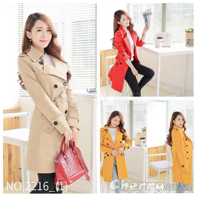 韓版大碼POLO領大衣雙排扣外套中長款風衣