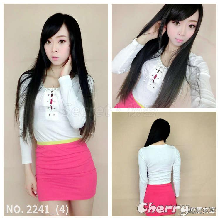 韓版低胸長袖綁帶上衣內搭性感打底衫螺紋T恤