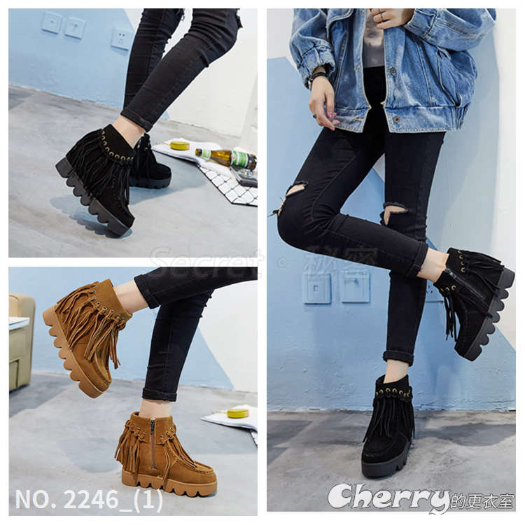 韓版真皮磨砂內增高雪地靴流蘇短筒靴鬆糕跟靴短靴馬丁靴側拉鍊厚底靴
