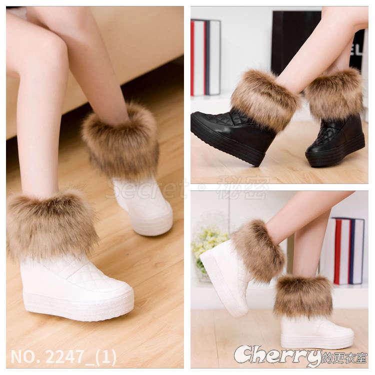 仿狐狸毛內增高厚底鞋鬆糕鞋休閒鞋板鞋坡跟鞋楔型鞋雪靴