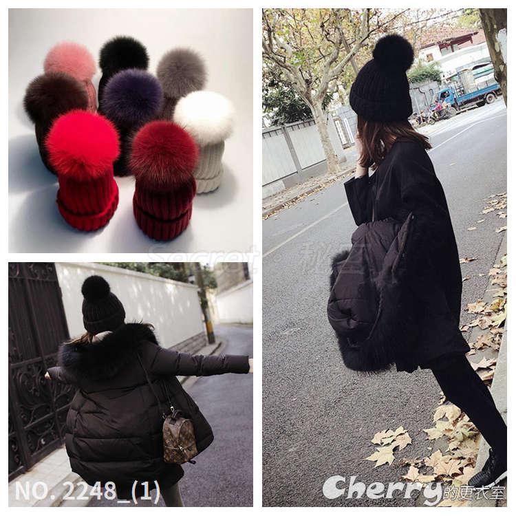 狐狸毛帽針織毛線帽毛球帽針織帽