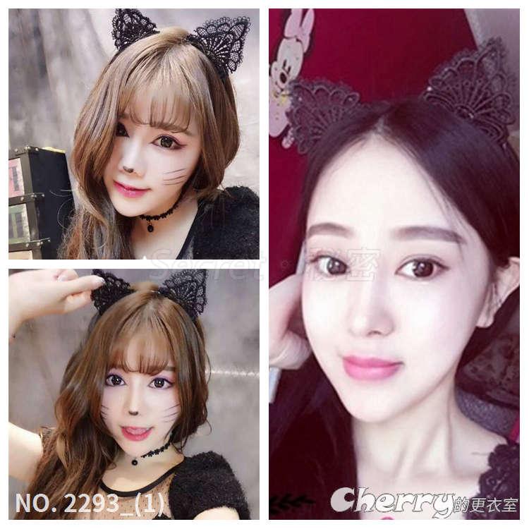 蕾絲花邊髮箍貓耳朵髮飾打鐵頭箍貓女舞會PARTY表演走秀飾品