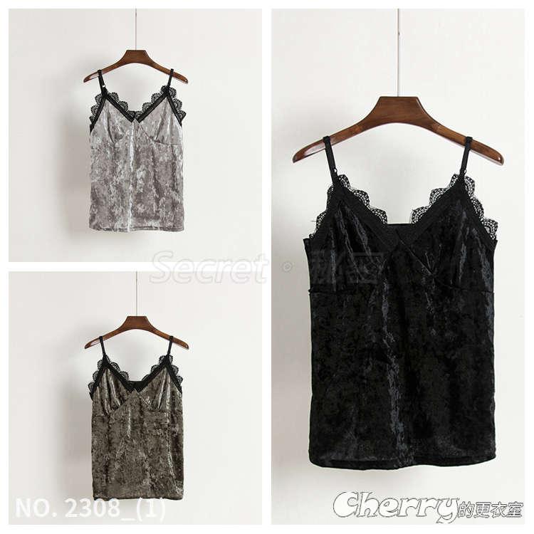 無袖蕾絲細肩帶打底衫拼接絲絨短款吊帶背心