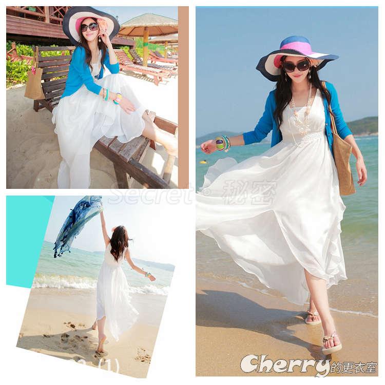 波西米亞長裙雪紡沙灘裙海邊大擺度假連身裙 白色