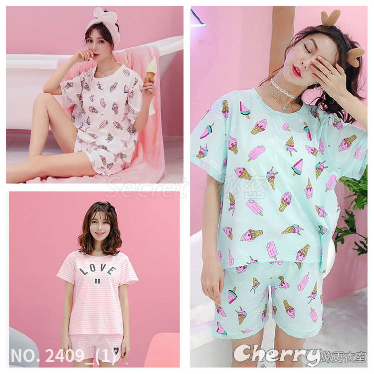 韓版可愛短袖家居服兩件套裝少女睡衣