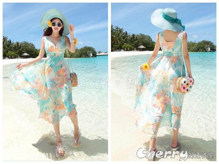 波西米亞沙灘裙長裙海邊度假雪紡連身裙 藍碎花