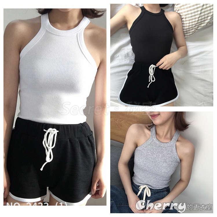 夏女裝韓版新款薄款外穿運動小背心掛脖修身針織吊帶上衣打底衫