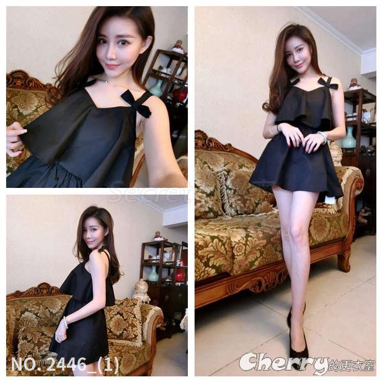 雪紡V領無袖高腰短裙蝴蝶結吊帶連身裙