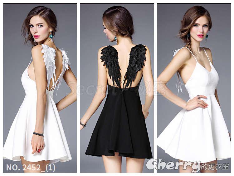 露背天使之翼沙灘裙吊帶細肩帶蕾絲翅膀連身裙
