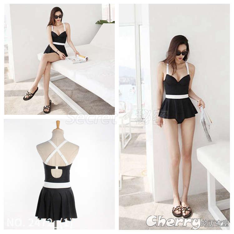 黑色溫泉泳裝連身裙式泳衣