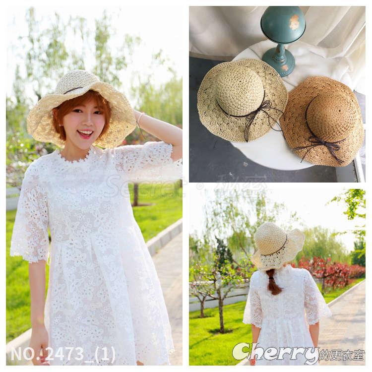 手工編織蝴蝶結遮陽帽大帽沿草帽折疊沙灘帽