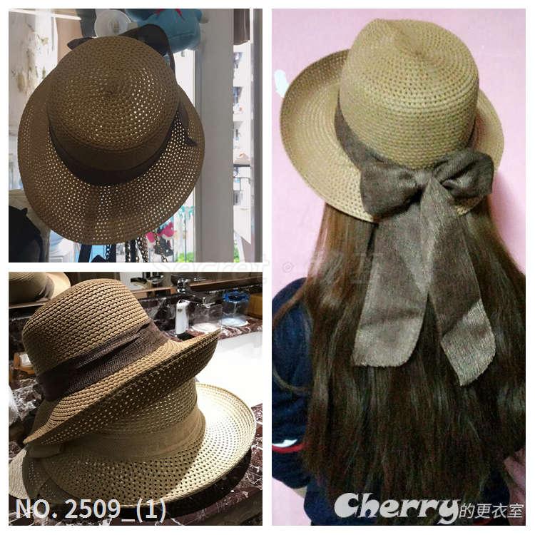 蝴蝶結可卷簷折疊草編圓頂帽盆帽遮陽帽漁夫帽鴨舌草帽禮帽