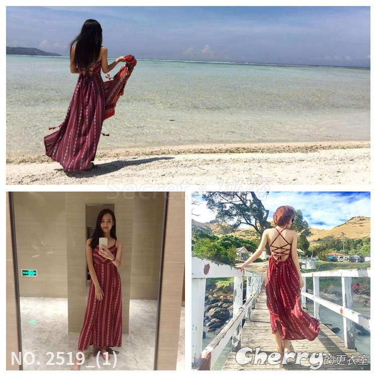 波西米亞沙灘裙無袖V領長裙性感雪紡度假裙吊帶海灘裙露背細肩帶連身裙