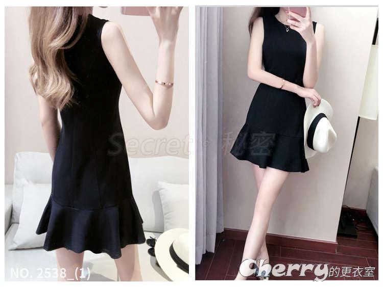 赫本風無袖中腰背心小黑裙圓領荷葉邊連身裙