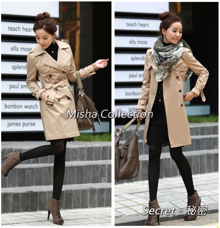 韓版時尚春秋雙排扣修身風衣長版外套
