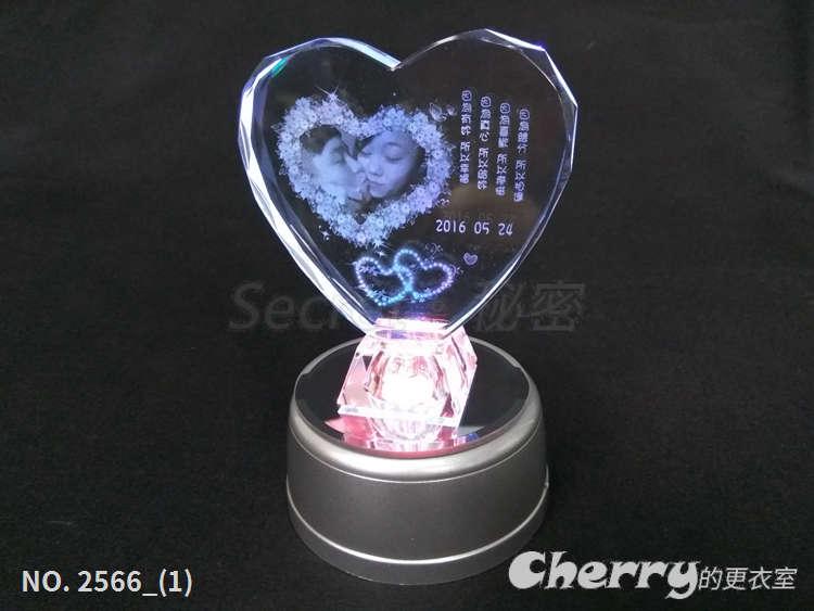 七彩發光水晶愛心+MP3七彩 LED 旋轉台 音樂盒 生日結婚情人節聖誕禮物贈品 DIY手工個性化訂製做可印相照片