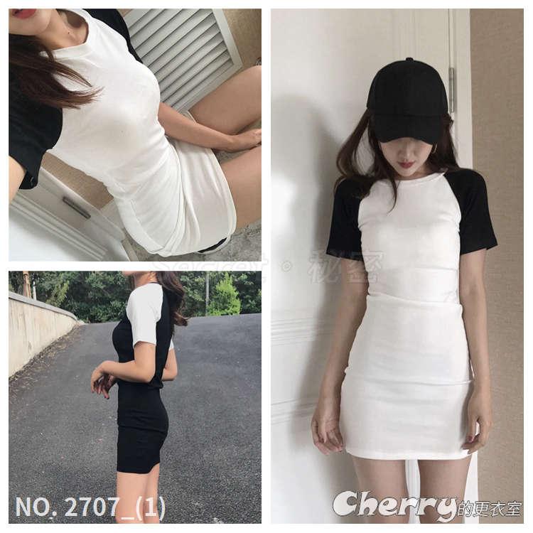 簡約圓領短袖短裙時尚拼色連身裙