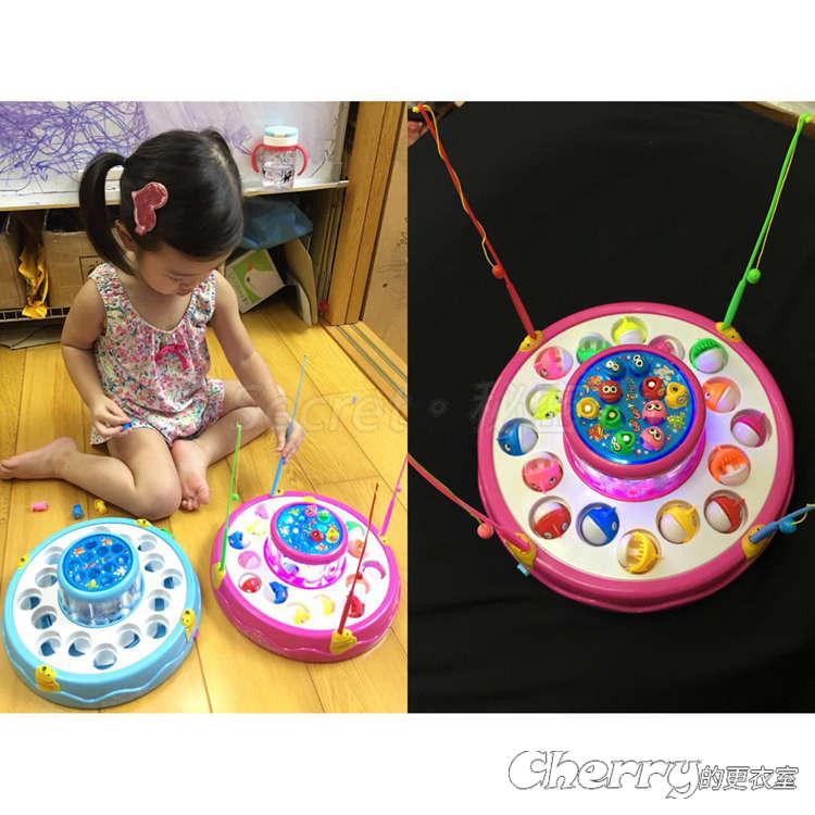 兒童益智玩具寶寶聲光雙層釣魚旋轉盤嬰兒磁鐵釣魚玩具