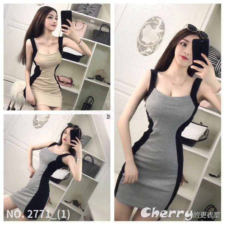 性感修身緊身包臀裙無袖拼色條紋吊帶針織連身裙