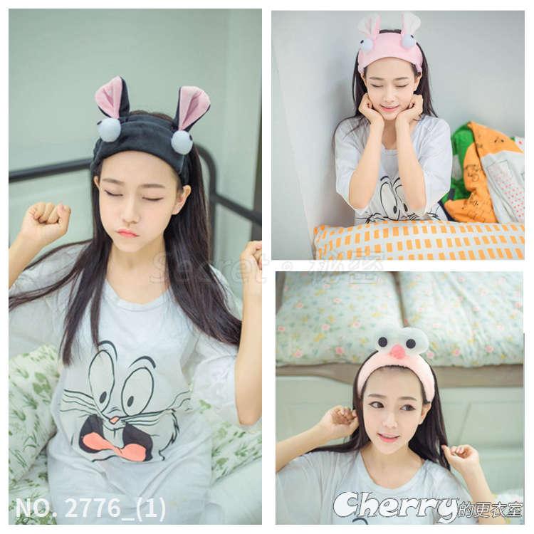可愛大眼免髮箍貓耳朵月子帽洗臉髮帶蝴蝶結髮圈卡通圖案寬邊頭箍大象頭飾