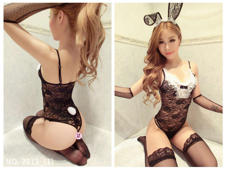 蕾絲兔女郎誘惑絲襪透明手套性感制服網衣吊帶連身褲情趣內衣