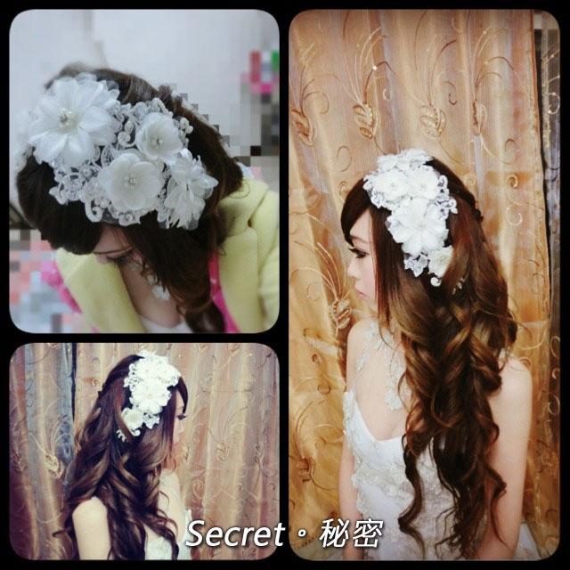 蕾絲頭花絹紗水鑽珍珠頭飾花朵額頭髮飾禮服飾品
