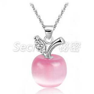 蘋果愛情貓眼石吊墜頸項鍊飾品
