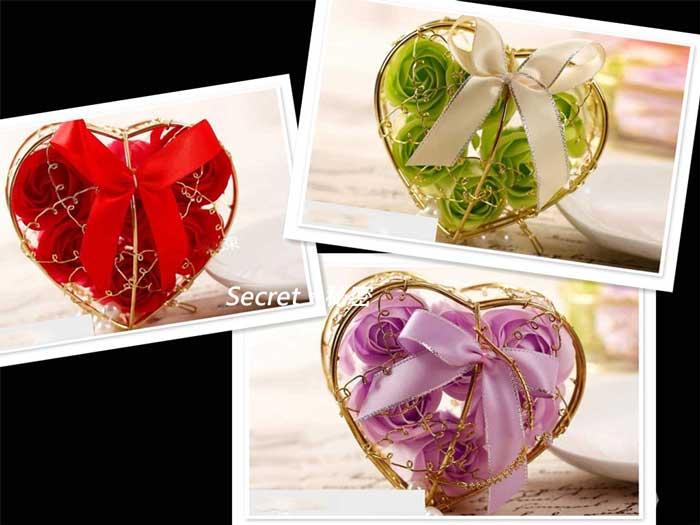愛心仿真玫瑰花精油香皂禮盒 生日情人節聖誕節創意禮物品盒
