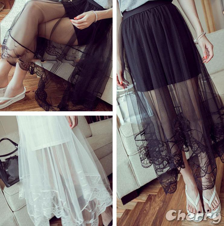半身蕾絲網紗拼接透明不規則長裙